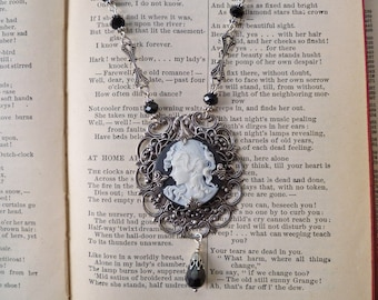 Black and White Grecian Maiden Cameo Necklace