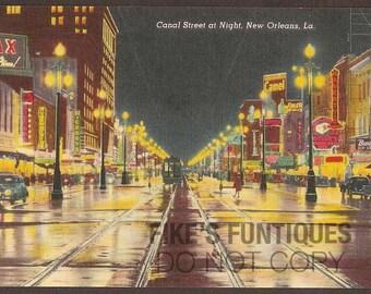 New Orleans, Louisiana Vintage Postcard - Canal Street at Night (Unused)