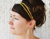 Gold Hippie HEADBAND - Two Strand, Crochet, Elastic, Wood Bead, Handmade, Fashion, Accessory, Stocking Stuffer, Acrylic Yarn, Yarnival.