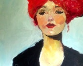 "Female Portrait, Miss B Print from Original Oil Painting Woman with Red Hair 8"" x 8"" Womans Face Black Dress"