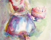 """Fine Art Giclee """"Happy Birthday"""" Print of a Watercolor Painting Chef with a Cake"""