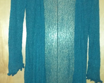 Beautiful Teal color is BACK  Buttery soft long, light weight knit cardigan 43.99 This is item is one size. light & packs up small