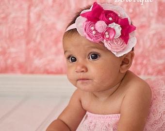 Strawberry Jam Pink Antique Headband  - Photography Prop - Newborn Photos