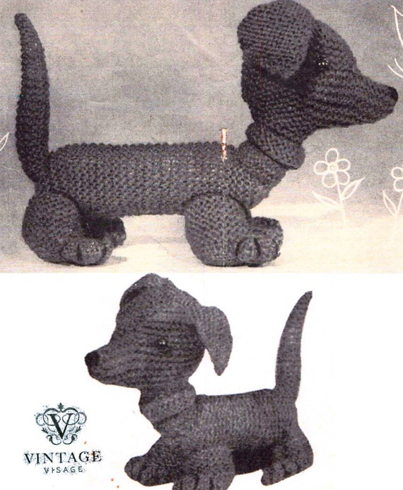Knitting Pattern For Dachshund Dog : Items similar to Vintage PDF knitting pattern- Dachshund weiner puppy, dog to...