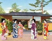 Vintage Japanese Print of a Kimono Party. Printed in 1935