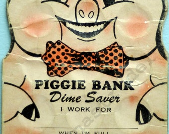 1954 Rare Die-Cut Piggie Bank Dime Saver. Philippine Banking Corporation