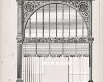 Antique Engraving of Marche de l'ave Maria, Paris. 1880 French Print of Decorative and Architectural Metalwork. Plate 28