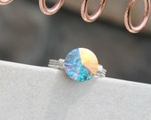 "RING: ""Blue Moon"" Swarovski Crystal / Wire Wrap (Custom)"