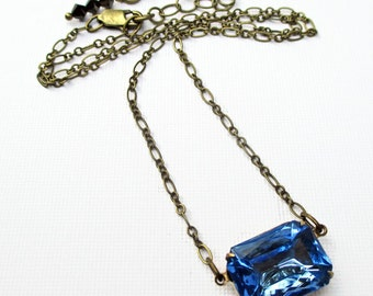 Serenity Blue Necklace - Birthstone Gift - Art Deco Necklace - LANCASTER Soft Blue