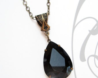 Victorian Necklace - Jet Black Pendant - Onyx Crystal Pendant Necklace - VERSAILLES Jet