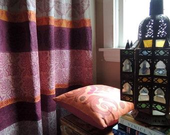 Silk Road hand block printed boho home decor pink purple orange butterfly linen curtain panel 54x84