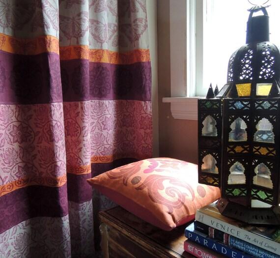 ... boho home decor pink purple orange butterfly linen curtain panel 54x84