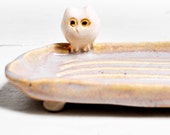 Owl Soap Dish ceramic owl pottery dish Wooland Style in Gray Cloud Glaze hand built pottery