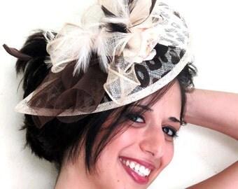 Derby fascinator animal print wedding hat flower fascinator hat ANIMAL BEAUTY