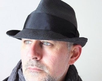 Black Toyo paper/poly straw handmade fedora. Classic summer hat. Minimalist mens fashion clothing for him.