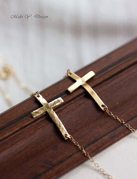 Sideway Cross Bracelet-Sterling Silver OR 14K Gold Filled,Celebrity Style-Everyday Jewelry,Sweet 16 Gifts,modern,celebrity,Adjustable,