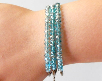 Beaded Multistrand Stacked Bracelet, Sparkling Aqua Crystal Bohemian Wedding Jewelry, Three Strand Casual Bridesmaid Accessories, Handmade