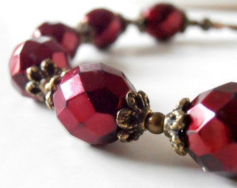 Dark Red Bridesmaid Bracelet Vintage Style Wedding Jewelry Holiday Weddings Faceted Czech Glass Antiqued Bead Jewelry Bridesmaid Gift