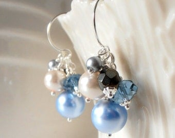Blue Bead Cluster Bridesmaid Earrings, Beaded Pearl Dangles, Swarovski Crystallized Elements Wedding Jewelry, Blue Jay, Cloudy
