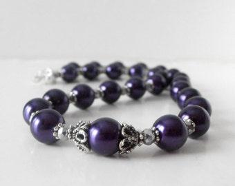 Dark Purple Pearl Necklace, Bridesmaid Necklaces, Beaded Necklace, Full Strand, Purple Necklace, Bridesmaid Jewelry, Concord, Eggplant