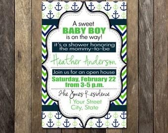 Baby Boy Shower Nautical Custom Invitation- 4x6