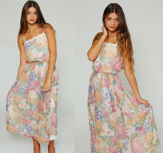 Vintage 70s PASTEL Floral Maxi Dress WATERCOLOR Romantic Boho
