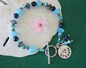 Grandma Personalized Bracelet, Mom Bracelet, Blue Bracelet, Pearl Bracelet, Crystal, Nana Charm, monogram bracelet, Beaded Bracelet