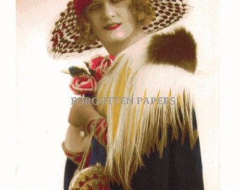 Super Glam FRENCH FLAPPER Beauty - 1920's Vintage Real Photo Postcard