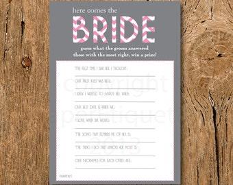 INSTANT UPLOAD - Bridal Shower Game - Here Comes The Bride - Pink & Gray Shower Game - Bride Shower Game - Bachelorette Game - Pink Wedding