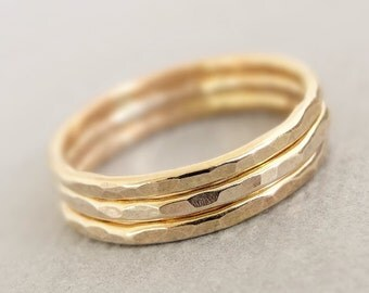 Gold Rings -  three 16 gauge gold filled wire stacking ring midi rings or thumb rings