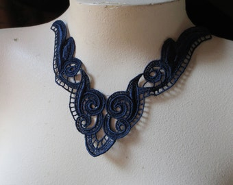 Lace Applique in Navy Blue for Jewelry Supply, Altered Couture, Costume Design CA 123nb