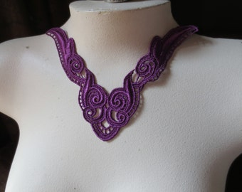 Purple Lace Applique in Violette for Jewelry Supply, Garments, Lyrical  Costume Design CA 123v