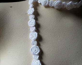 """Ribbon Rose Trim in WHITE  18"""" for Bridal, Straps, Sashes, Headbands, Crafting TR"""