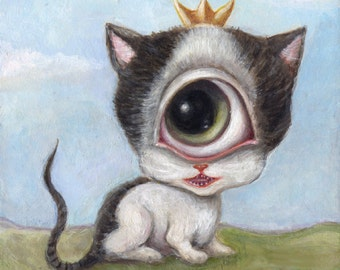 Big Eye Cylops Cat Art Print, Surreal Lowbrow Art, One eyed Cat, Pop Surrealism, Whimsical Art, Cat Illustration, Giclee Print, Weird Art