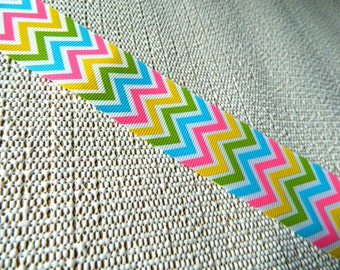 Multi colored Chevron ribbon: 1.5 inch 37mm zigzag grosgrain trim in fun colors (hot pink turquoise yellow apple green) on white by the yard