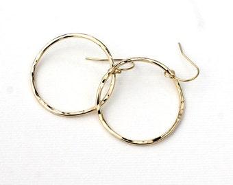 Handmade 14k Yellow Gold Filled Wavy Circle Hoop Earrings Organic Hammered Textured