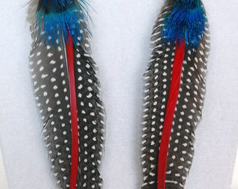 Red, White, Blue n Gray Feather Earrings - Spots n Stripes, Shoulder Duster Feather Tribal Earrings, Hippie Earrings, Boho Feather Earrings