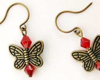 Butterfly Earrings Choose Your Accent Color/Number of Butterflies, Nature Lover Gift, Short or Long Dangle Earrings, One Butterfly or Three