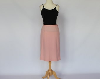 SALE - 60's  Pink Wool A-line Skirt / XSmall to Small