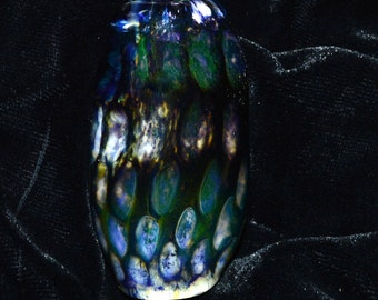 Exquisite Honeycombed White and Blue Moon Dread Bead - Handblown Glass