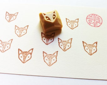 baby fox hand carved rubber stamp. woodland animal stamp. reward stamp. teacher's stamp. planner stamp. birthday baby shower holiday crafts