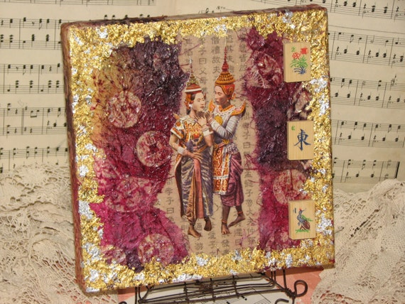 Golden Love - Original Asian Influenced Faux Batik Canvas Collage