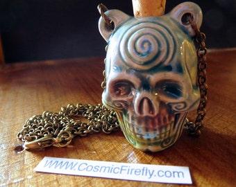 Sale Human Skull Necklace Rustic Blue Raku Ceramic Bottle Halloween Men's Steampunk Necklace Blue Spiral Skull Head Necklace