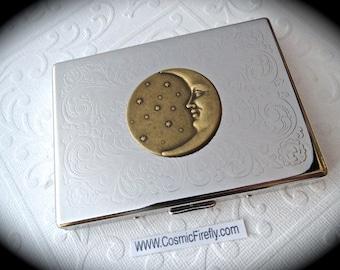 Steampunk Cigarette Case Brass Moon Card Case Art Nouveau Case Shiny Silver Plated Vintage Inspired New Victorian Steampunk Cigarette Case