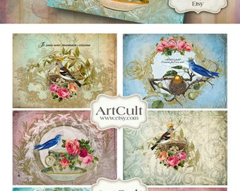 Printable download BIRDS PARTY Gift Tags Digital Collage Sheet Vintage Ephemera decoupage Paper Craft Jewelry Holders ArtCult graphics