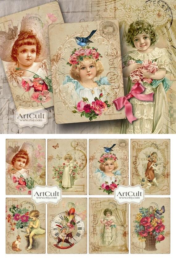 Printable GRANDMA'S ATTIC Digital Collage Sheet Gift Tags Vintage Ephemera greeting cards print-it-yourself decoupage paper craft ArtCult