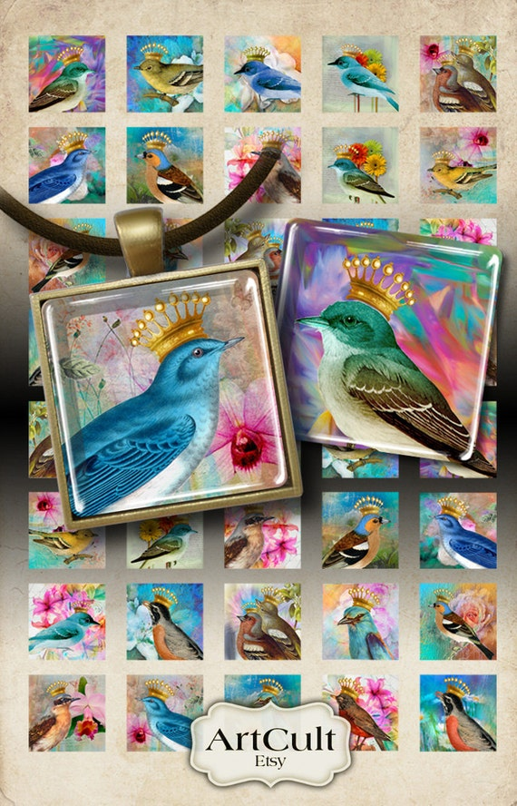 1x1 inch images CROWNED BIRDS clip art Digital Collage Sheet Printable Download for square pendants magnets bezel trays artcult graphics