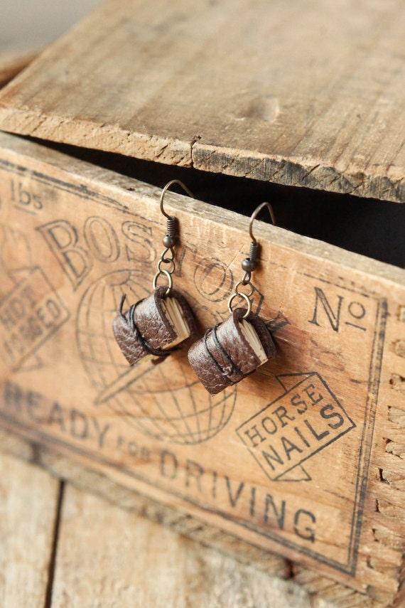 Brown Mini Leather Journal Earrings - Handmade Mini Book Jewelry