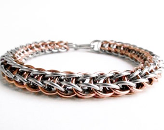 Chainmaille Bracelet - Stainless Steel & Copper - Full Persian
