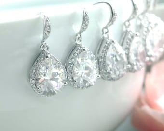 15% OFF - Set of Seven, 7 pairs Pear Teardrop Large Lux Cubic Zirconia White Crystal Wedding Earrings. Wedding Bridal Bridesmaid Earrings